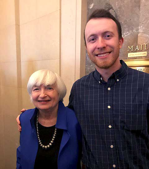 Michael Girard '17 together with the former Chair of the Board of Governors of the Federal Reserve, Janet Yellen.