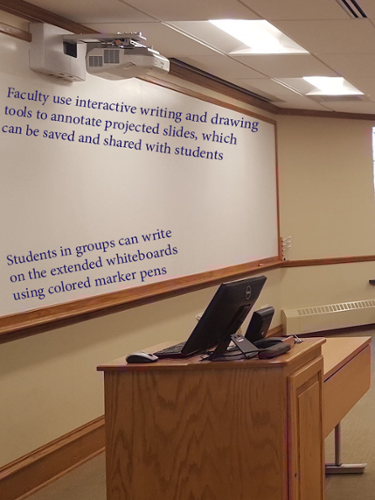 An interactive whiteboard inside Cowles Hall