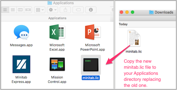 Copy the new minitab.lic file to your Applications directory, replacing the old file.