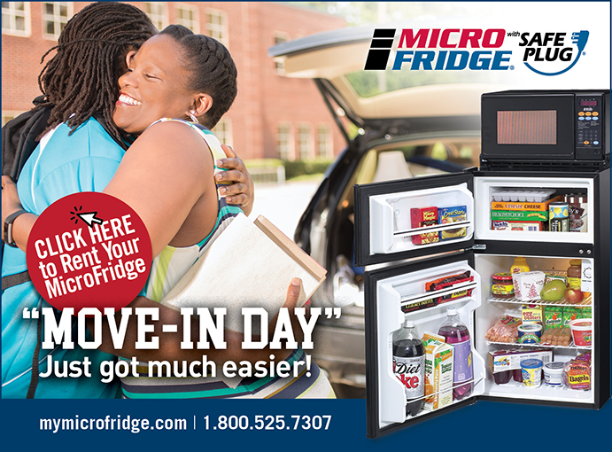 Microfridge Ad: Move-In Day just got much easier! Microfridge with Safe Plug. Website: mymicrofridge.com. Phone Number: 1 (800) 525-7307
