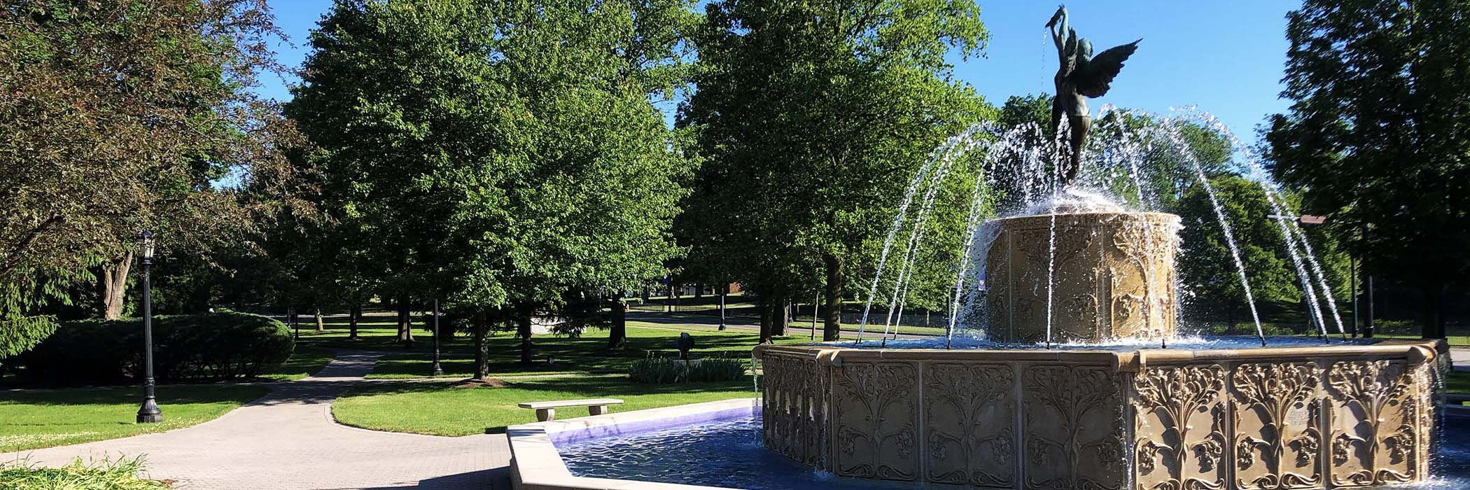 Image of fountain in on a sunny day